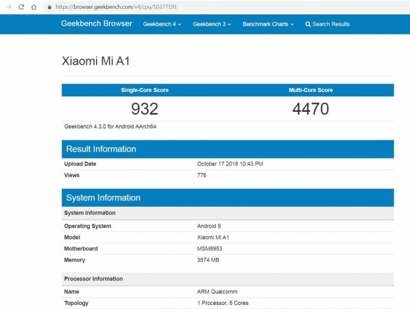 Xiaomi, Mi A1, Android Pie, Geekbench