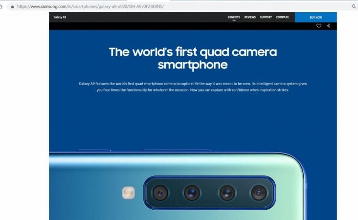 Samsung, Galaxy A9, quadruple, camera,
