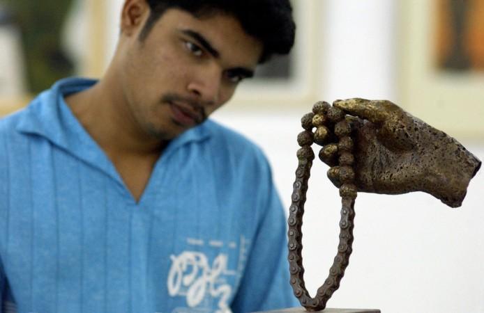 An art enthusiast at Venkatappa art gallery