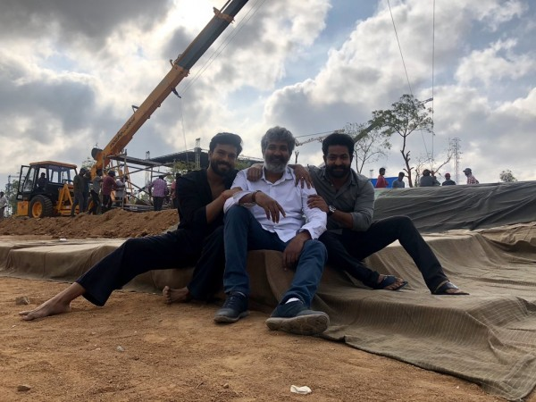 Jr NTR, SS Rajamouli and Ram Charan on RRR movie sets