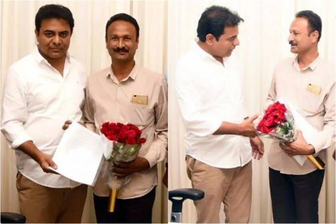 KTR with Padmasri Chintakindi Mallesham