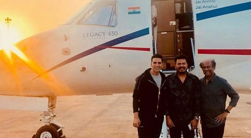 Superstars Rajinikanth and Akshay Kumar and director Shankar in Hyderabad