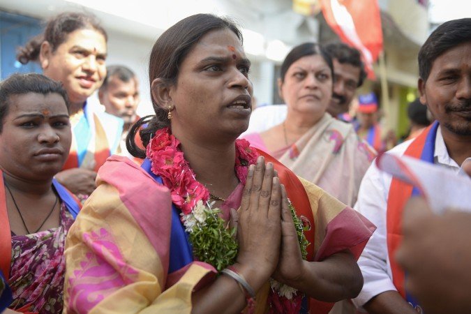 ndian transgender political candidate Chandramukhi Muvvala (C), 32, greets voters as she campaigns in the Goshamahal constituency in Hyderabad on November 26, 2018. - Chandramukhi is contesting the Telangana Assembly elections, which is taking place on De