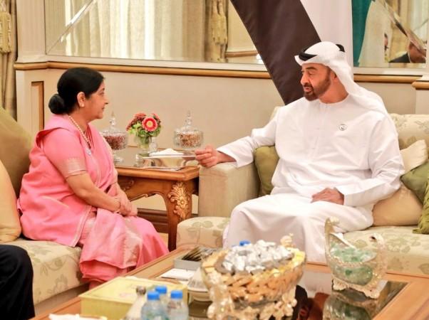 Sushma swaraj meets Abu Dhabi Crown Prince HH Sheikh Mohammed bin Zayed Al Nahyan