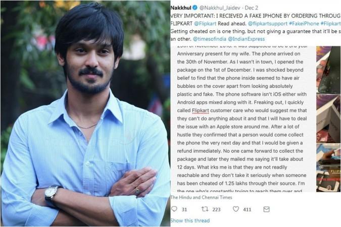 Tamil actor Nakkhul Jaidev alleges Flipkart of delivering fake iPhone XS MAX