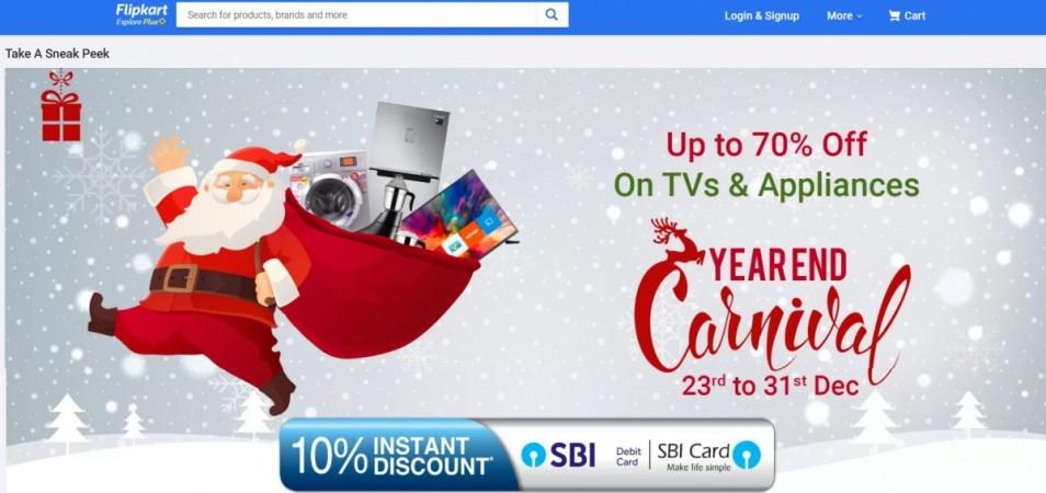 Flipkart, Year End Carnival, Sale, 2018, smart LED TVs, refrigerators, washing machines