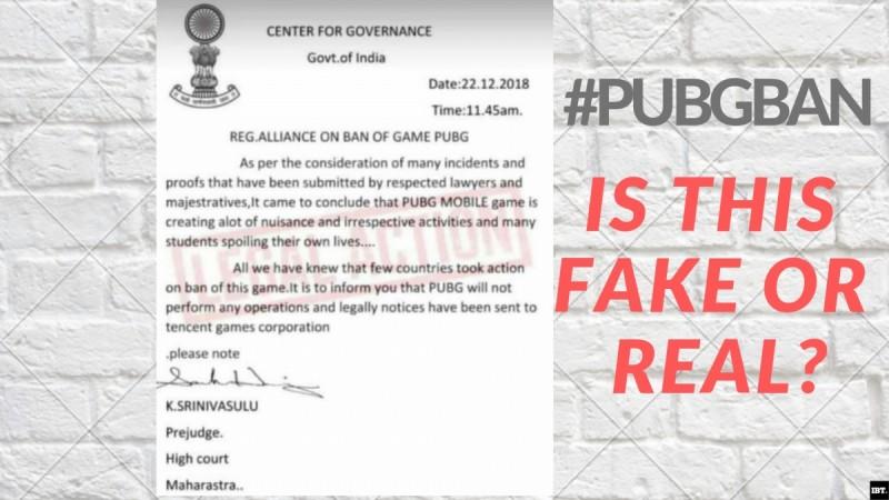 Fake PUBG Ban notice goes viral