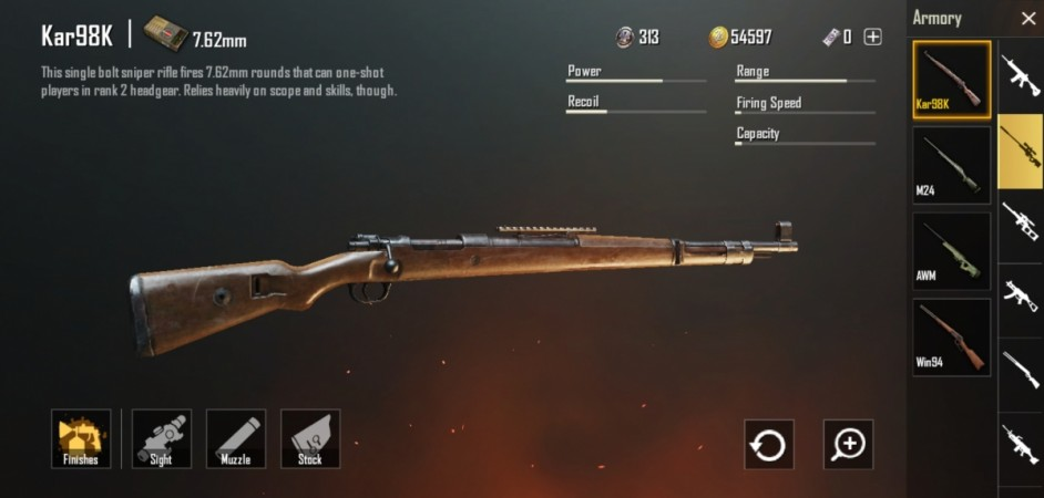 PUBG Mobile best guns: Kar98 (7.62mm) sniper rifle