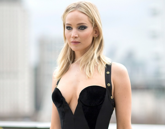 Jennifer Lawrence in Versace's safety-pin gown