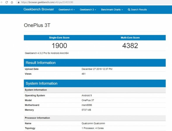 OnePlus 3T, Android Pie,testing, Geekbench