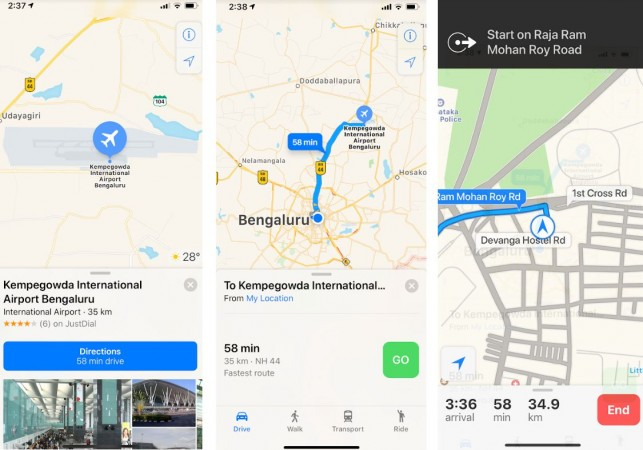 Apple Maps, navigation, turn-by-turn guide, India,