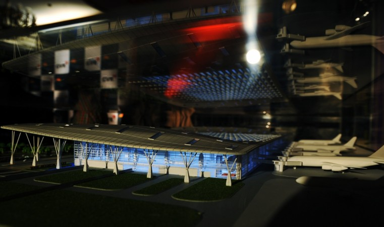 An architectural model for a proposed new terminal at Bangalore International Airport Limited (BIAL)