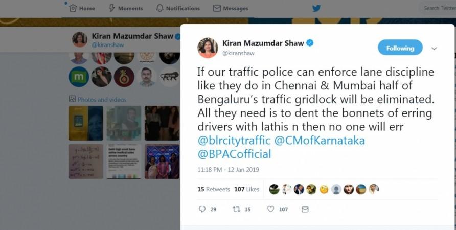 Kiran Mazumdarr Shaw, Twitter, Bengaluru Traffic