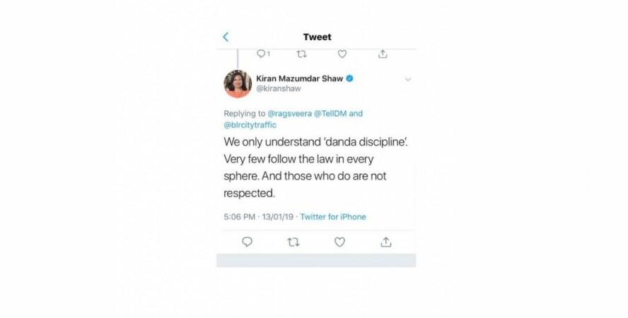 Kiran Mazumdar Shaw, Twitter, Bengaluru Police