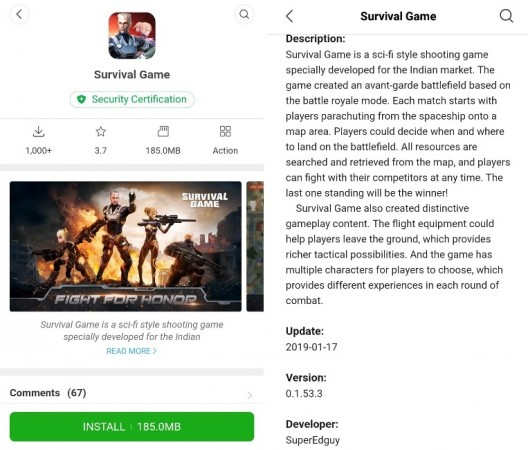 Survival Game on Mi App Store