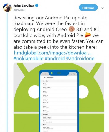 Nokia, Android Pie, roll-out, plan