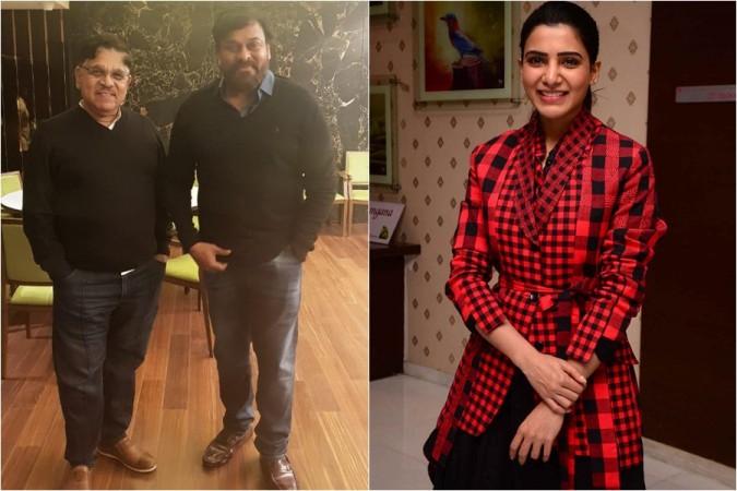 Producer Allu Aravind, Megastar Chiranjeevi and actress Samantha Akkineni