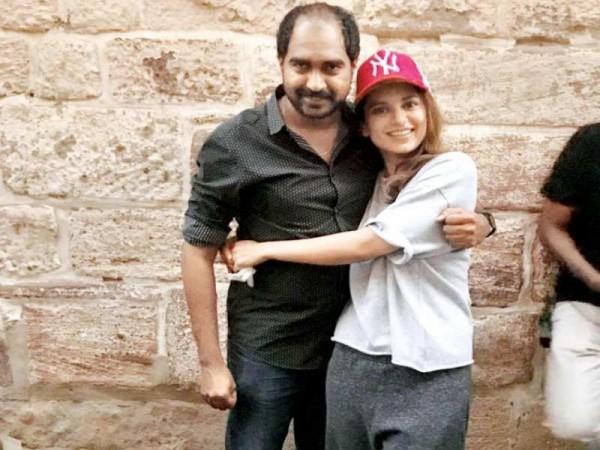 Director Krish aka Radhakrishna Jagarlamudi and Kangana Ranaut on Manikarnika set