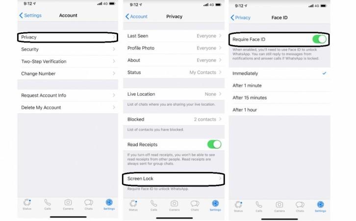 WhatsApp, iOS, Touch ID, Face ID