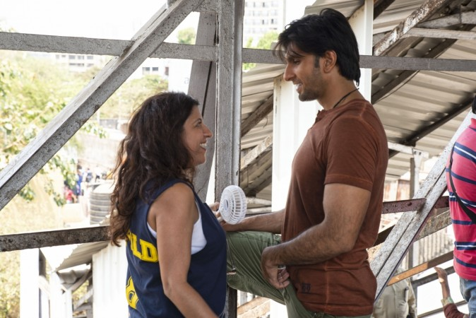 Zoya Akhtar and Ranveer Singh on Gully Boy sets