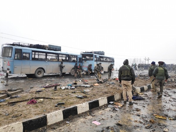 The site on on the Srinagar-Jammu highway where 20 Central Reserve Police Force (CRPF) troopers were killed and 15 others injured in an audacious suicide attack by militants in Jammu and Kashmir's Pulwama district on Feb 14, 2019.