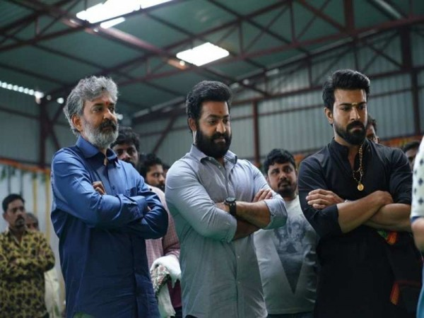 SS Rajamouli with Junior NTR and Ram Charan at RRR movie opening ceremony