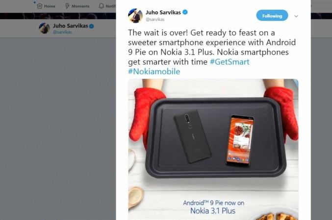 HMD Global Oy, Nokia 3.1 Plus, Android Pie