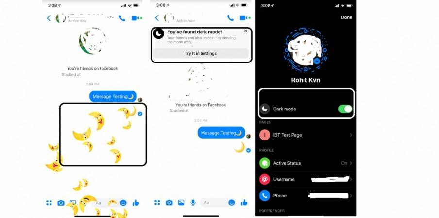 Facebook Messenger, dark mode