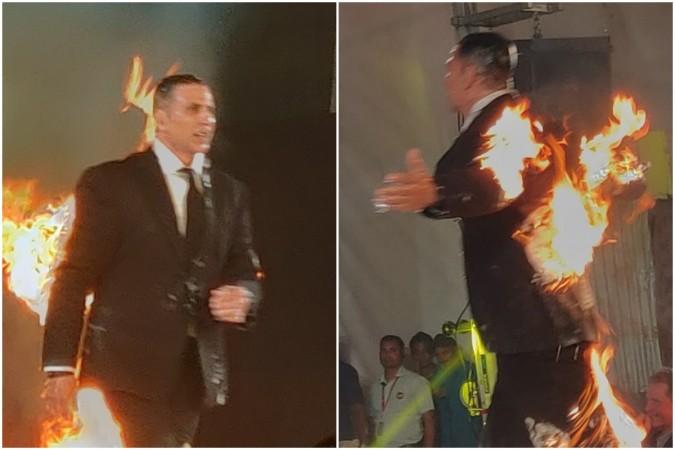 Akshay Kumar sets himself on fire to promote Kesari