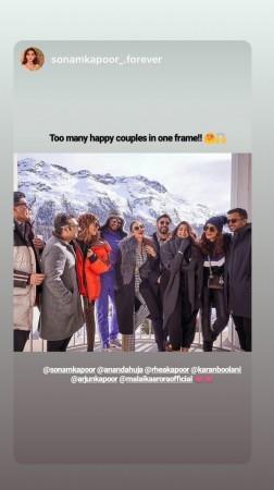 Arjun and Malaika, Sonam and husband Anand   Ahuja, Rhea Kapoor and boyfriend Karan Boolani