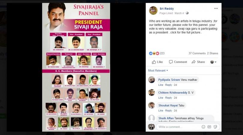 A screenshot of Sri Reddy's Facebook post