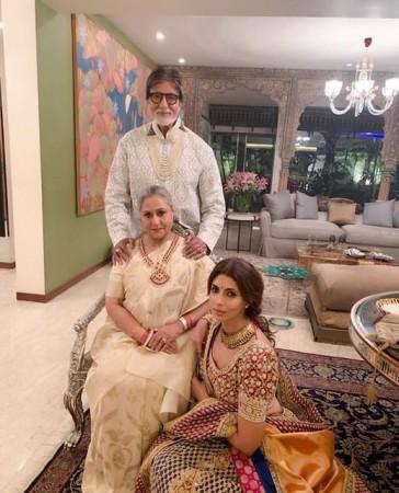 Amitabh Bachchan and Jaya Bachchan with Shweta Bachchan Nanda