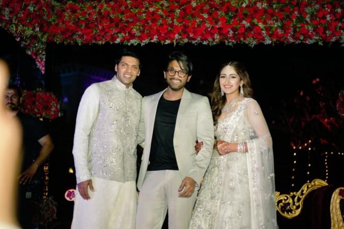 Allu Arjun with actor Arya and actress Sayyeshaa Saigal at their Sangeeth ceremony