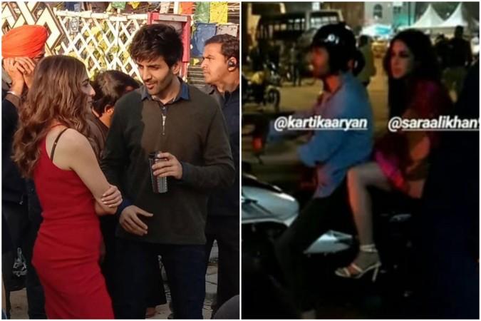 Sara Ali Khan and Kartik Aaryan spotted together having bike ride