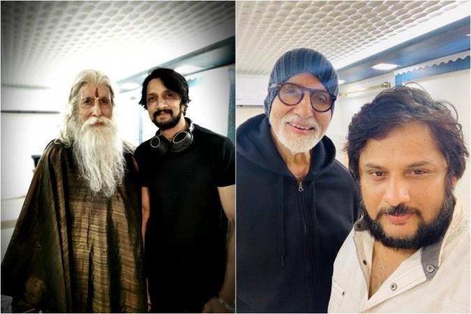 Amitabh Bachchan with Kichcha Sudeep and director Surender Reddy on Chiranjeevi's Sye Raa sets