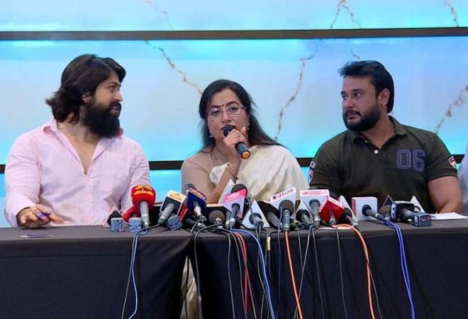 Yash with Sumalatha and Darshan