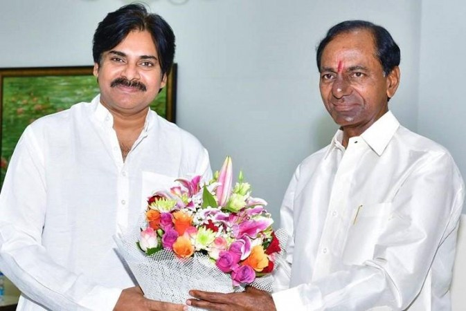 Pawan Kalyan with KTR's father KCR
