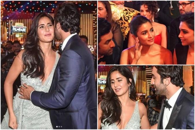 Ranbir Kapoor with Katrina Kaif and Deepika Padukone at Filmfare Awards 2019