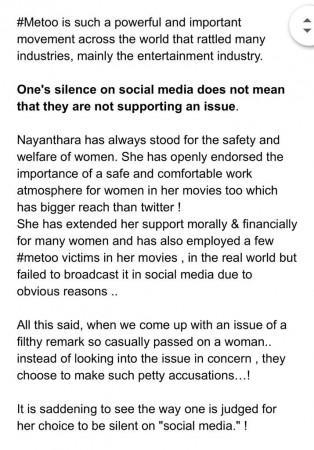 Vignesh Shivan about Nayanthara's Silence on #MeToo