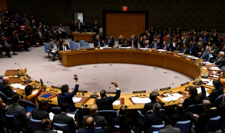 The members of the United Nations Security Council hold a meeting to vote for a resolutions on controlling the turmoil in Venezuela on February 28, 2019 at the United Nations in New York.