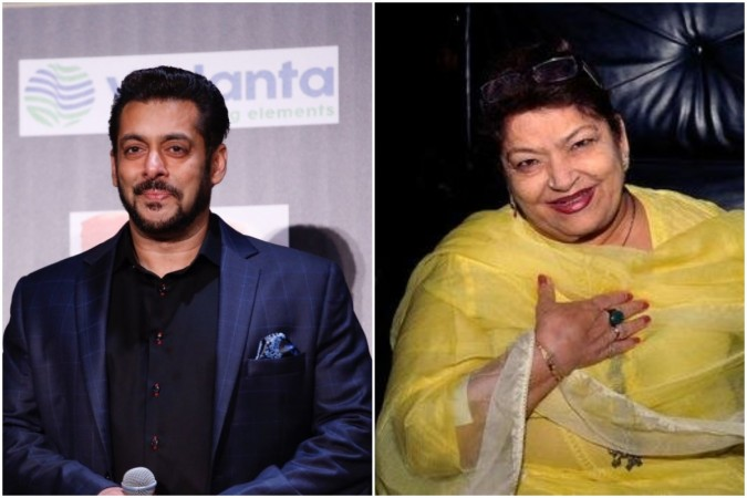 Salman Khan and Saroj Khan