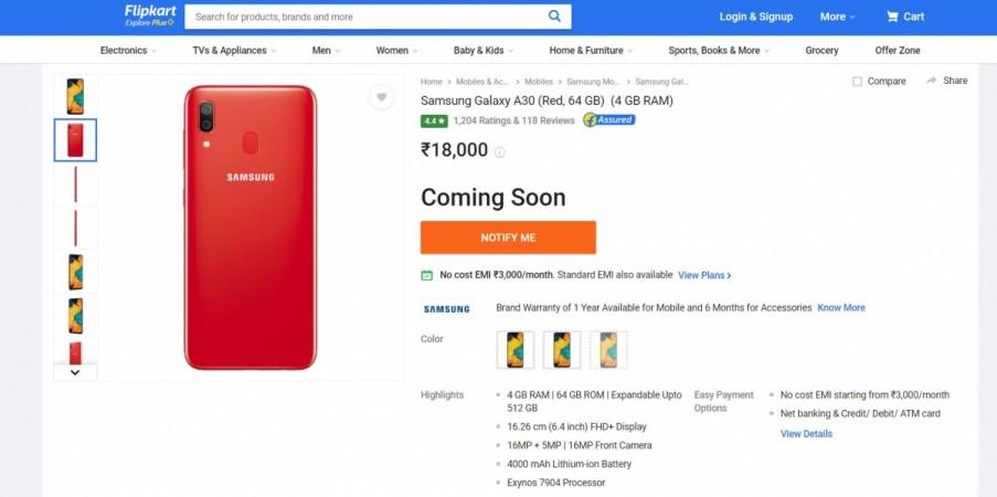 Samsung, Galaxy A30, Red, Flipkart