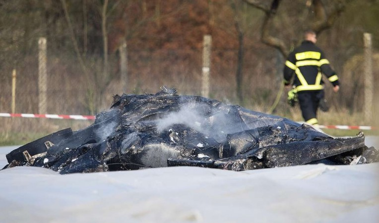 The crashed private jet in which Natalia Fileva was flying