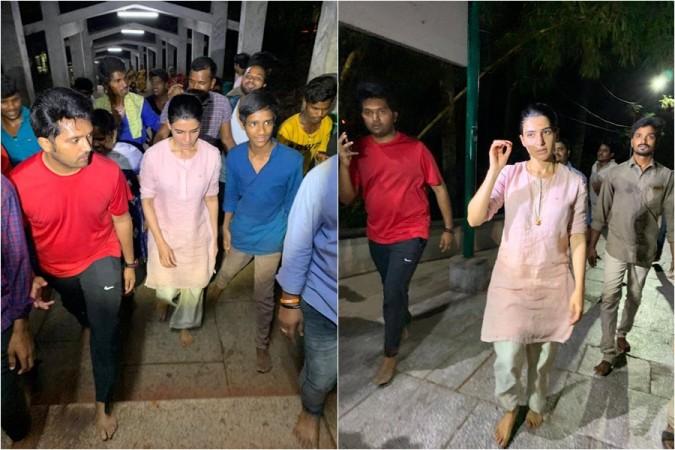 Samantha Akkineni walking up the steps from Alipiri, Tirupati to Tirumala