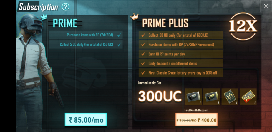 PUBG Mobile Prime plans on Android