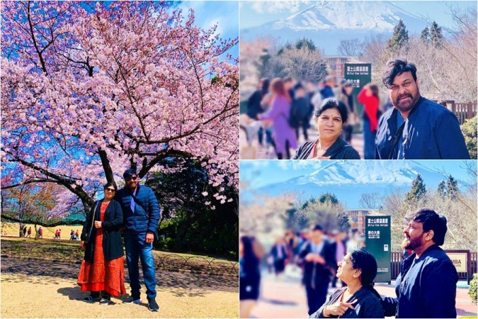 Chiranjeevi with his wife Surekha in Japan