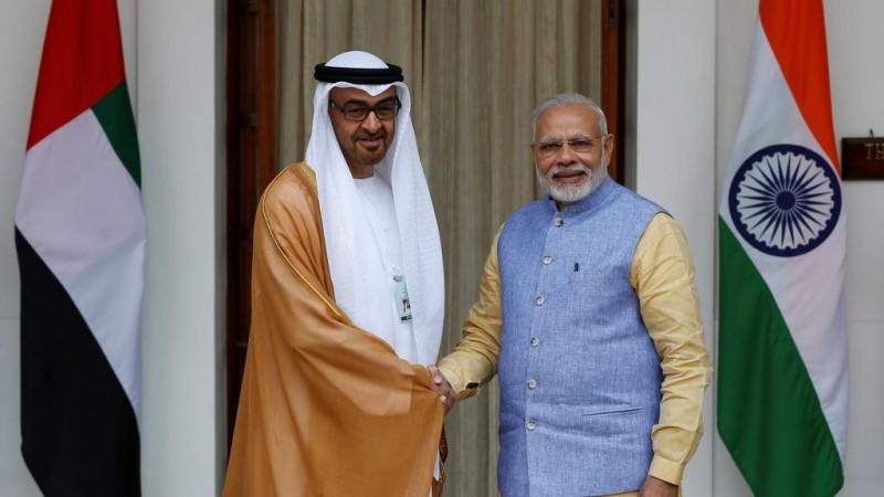 Narendra Modi with Sheikh Mohammed bin Zayed Al Nahyan