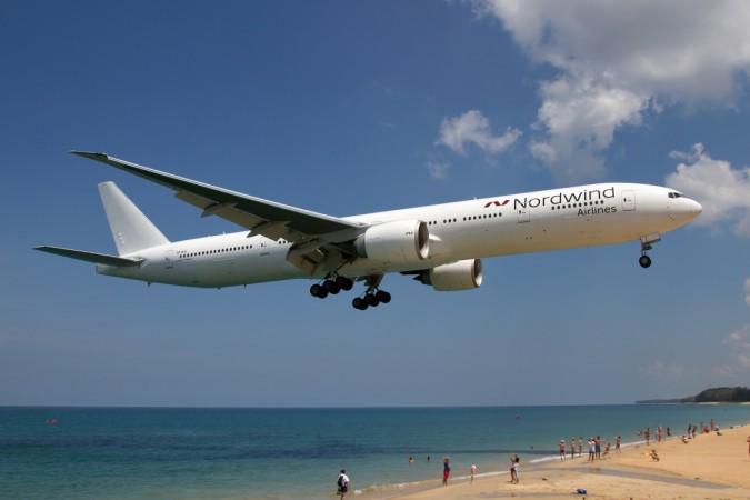 Nordwind Airlines Boeing 777-200ER on final at Phuket...
