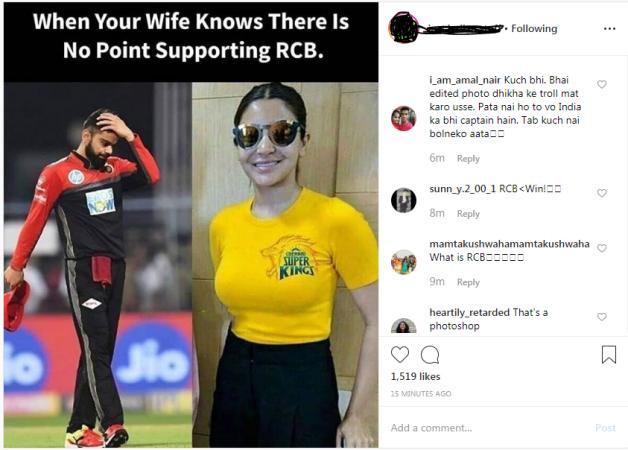 Fake picture of Anushka Sharma wearing CSK jersey resurface online
