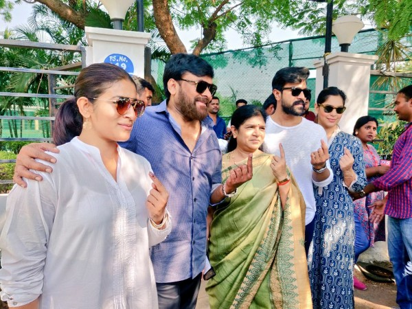 Chiranjeevi with family members at a polling booth of the Lok Sabha elections in Banjara Hills